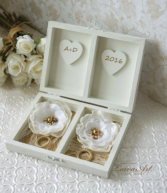 Mariage - Personalized Ring Bearer Box Gold Wedding Ring Bearer Pillow Alternative Ivory Ring Bearer Box Wedding Ring Box