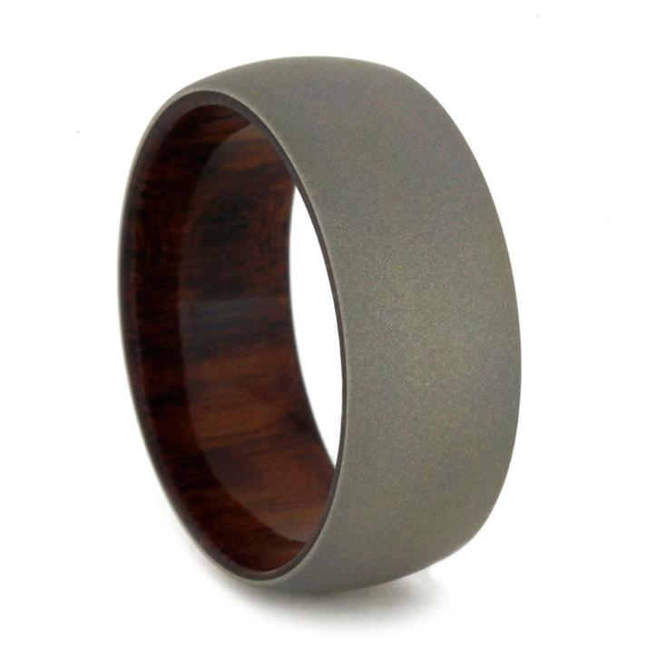 Свадьба - Mens Wedding Band with Snakewood Sleeve and Sandblasted 14k White Gold Ring Overlay
