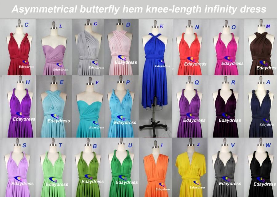 زفاف - Summer Multiway Butterfly Hem Short Tea Knee Length Wedding Bridesmaid Dress Convertible Infinity Wrap Dress