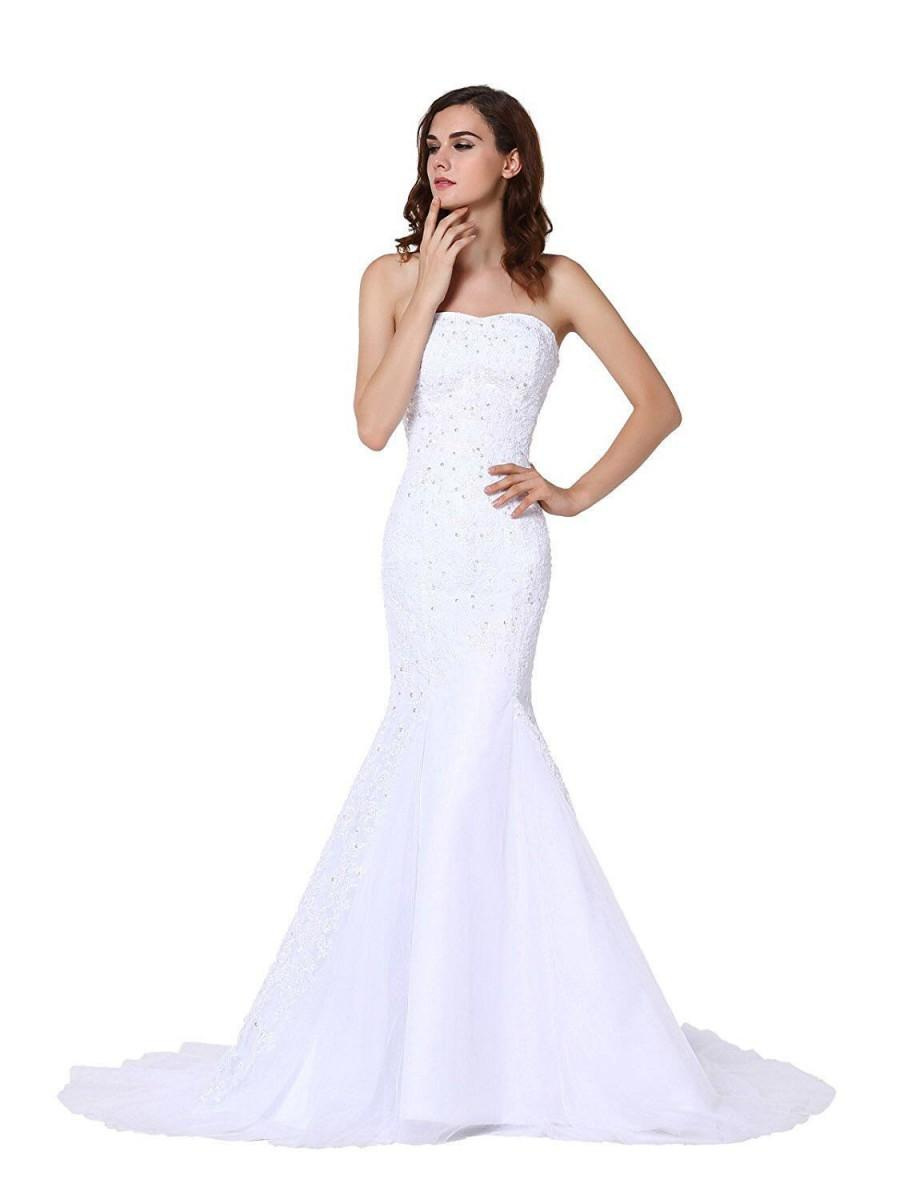 زفاف - Women's Strapless Mermaid Lace Applique Tulle Bridal Wedding Dress