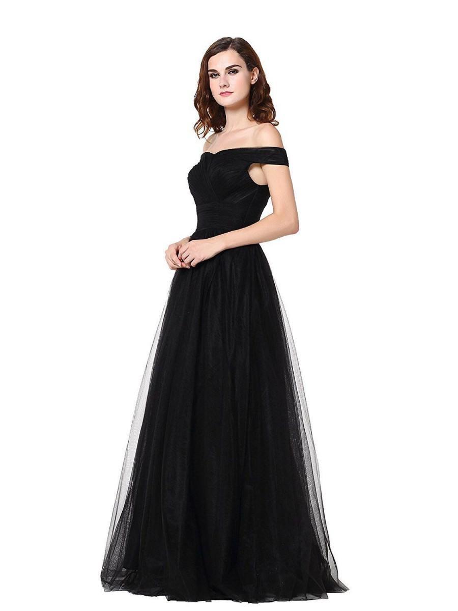 زفاف - A-line Tulle Ruched Bodice Off The Shoulder Evening Dress Prom Gown