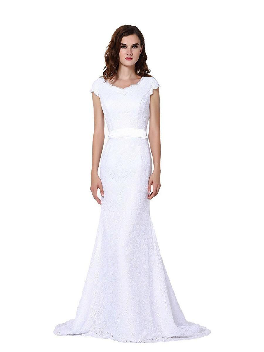 Hochzeit - Women's Scoop Neck Cap Sleeve Lace Court Wedding Dresses Bridal Gowns