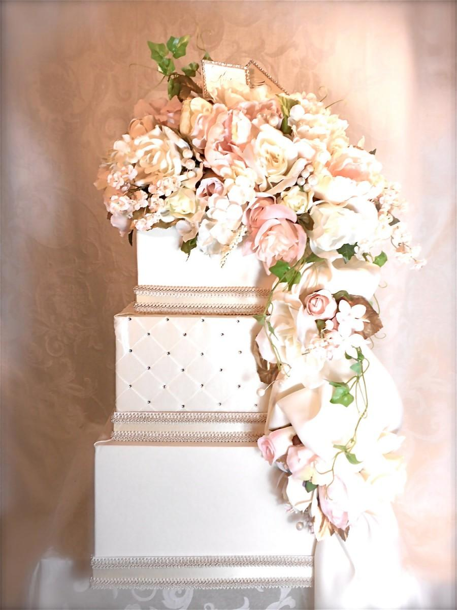 Wedding Card Box Secured Lock Peach Pink Cream Wedding Card Holder ...