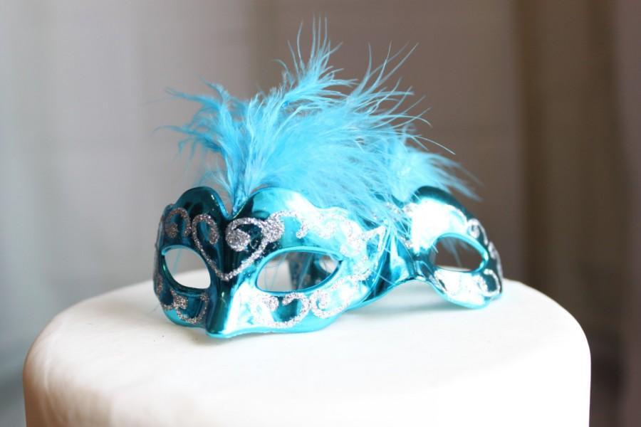 Miniature Masquerade Masks Turquoise Cake Topper Paris Simple Decorate Masquerade Mask