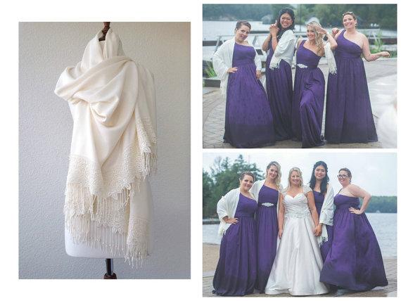 Свадьба - Bridesmaid Gift SET OF 5 Wedding Shawls Ivory Wedding Shawl Bridal Shrug Luxurious Pashmina Ivory Scarf Wedding Wrap