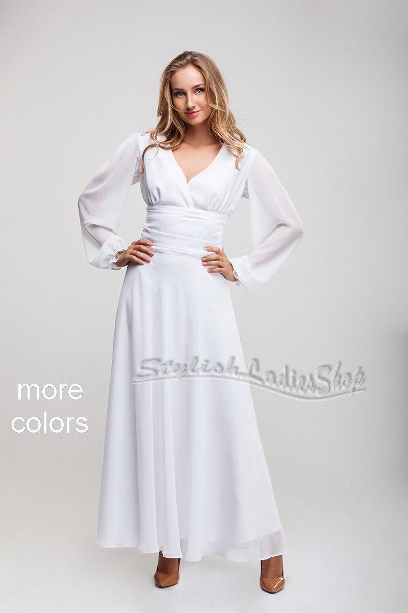 5d16ada33be7 long white dress, chiffon dress floor length, Maxi dress with long sleeves,  V-neck dress, wedding bridesmaid dress, formal dress.