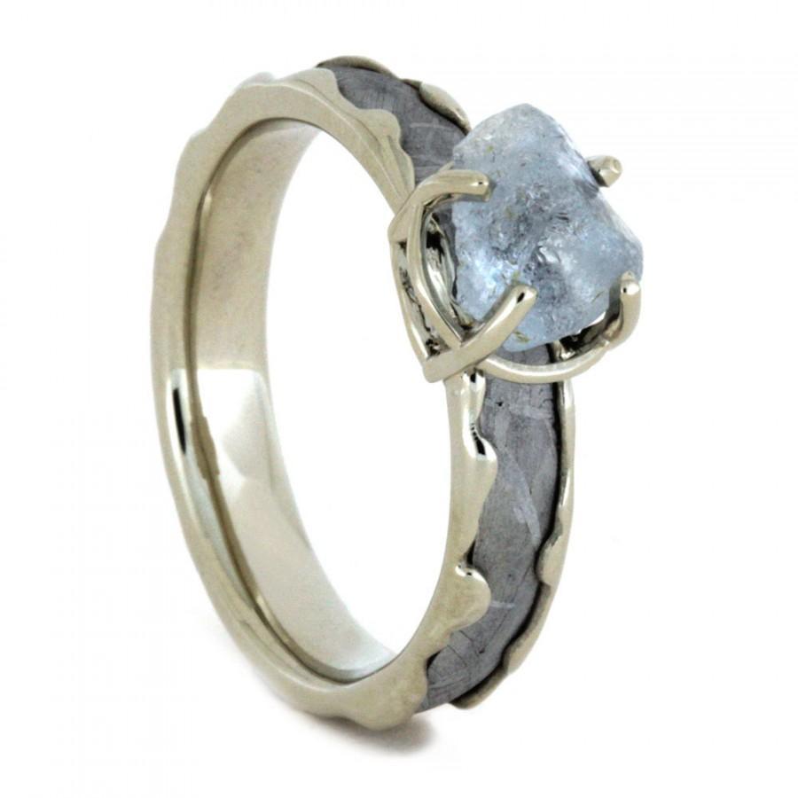 Wedding - Rough Aquamarine Engagement Ring, Gibeon Meteorite Ring With 10k White Gold,  Wave Ring, Gemstone Ring