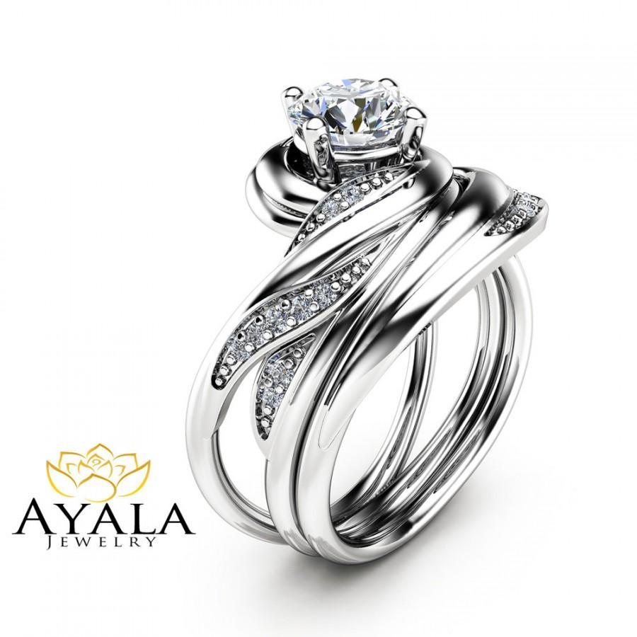زفاف - Unique Diamond Wedding Ring Set in 14K White Gold Diamond Engagement Rings Vintage Wedding Set