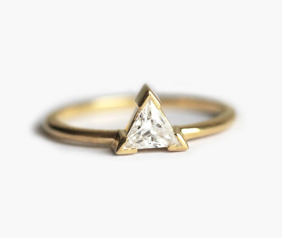 Wedding - Trillion Diamond Engagement Ring, Diamond Engagement Ring, 18k Gold Engagement Ring
