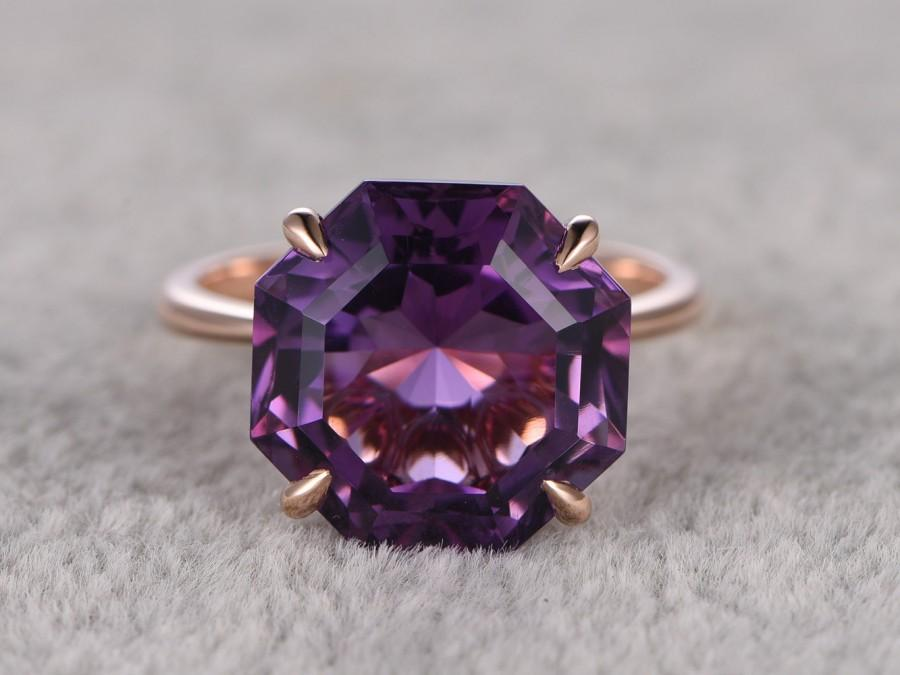 Big Hexagon Amethyst Engagement Ring Solitaire Wedding Ring 14K