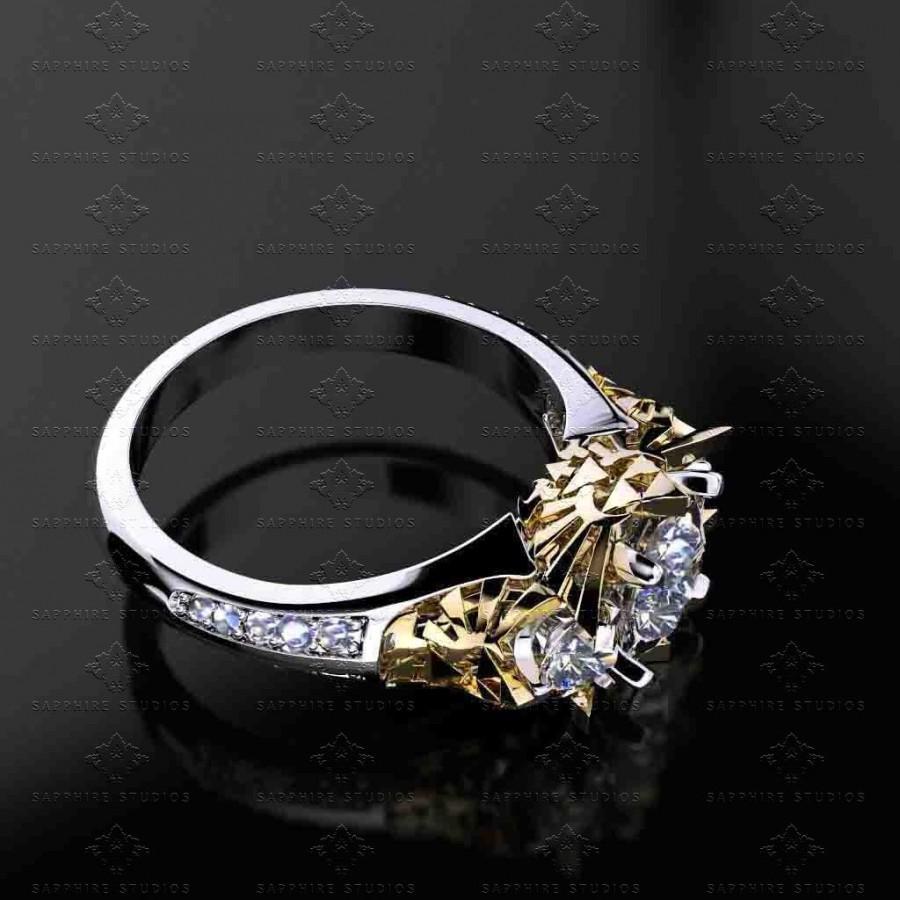 Zelda 2 70ct Trio Diamond White Yellow Rose Gold Triforce Ring