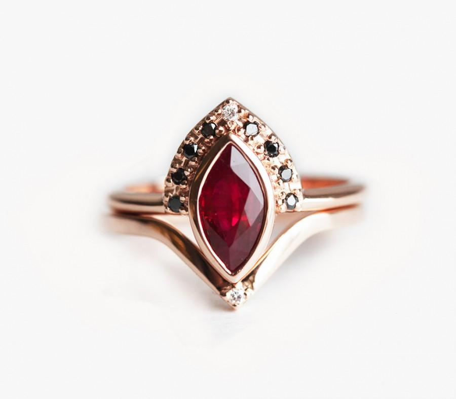 Ruby engagement ring ruby wedding set ruby diamond ring ruby engagement ring ruby wedding set ruby diamond ring marquise ruby ring rose gold ruby ring set junglespirit Image collections