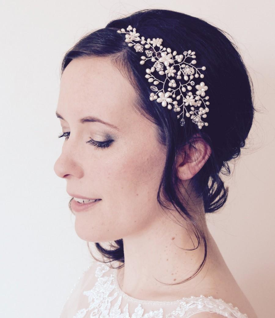 Wedding - Bridal pearl crystal side tiara, vintage wedding floral vine headpiece, Swarovski headdress, pearl flower headband, bride flower accessory