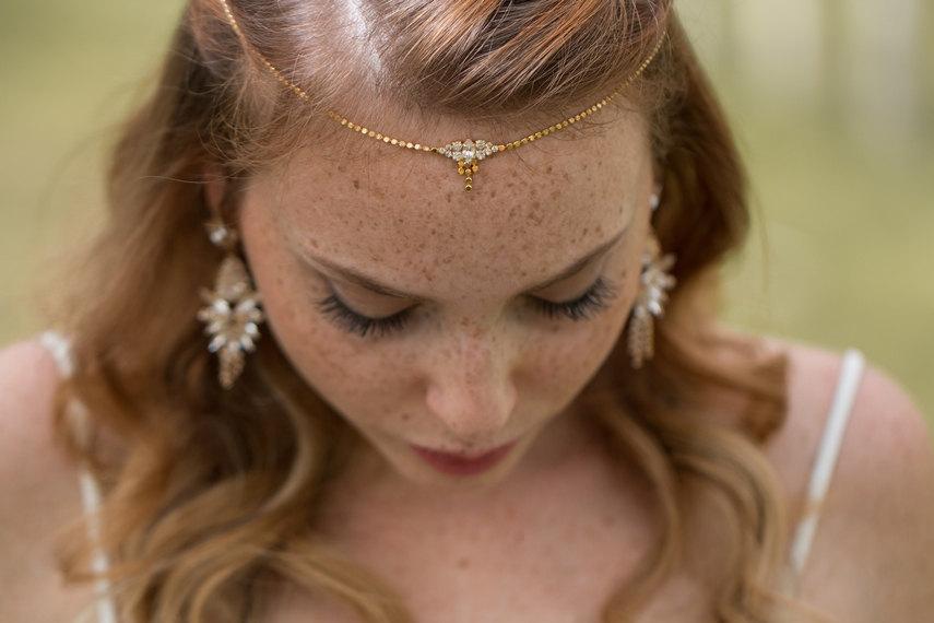 Hochzeit - Boho Bridal Headband, wedding hair accessories, wedding Headband, Boho Head Piece, rhinestone forehead headband, wedding headpiece