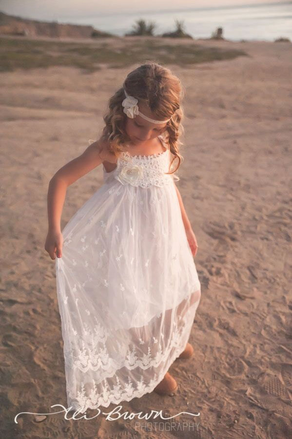 e16099da2 Flower girl dress, boho flower girl dress, Ivory flower girl dress, flower  girl dresses, beach flower girl dress, boho girls dress, wedding