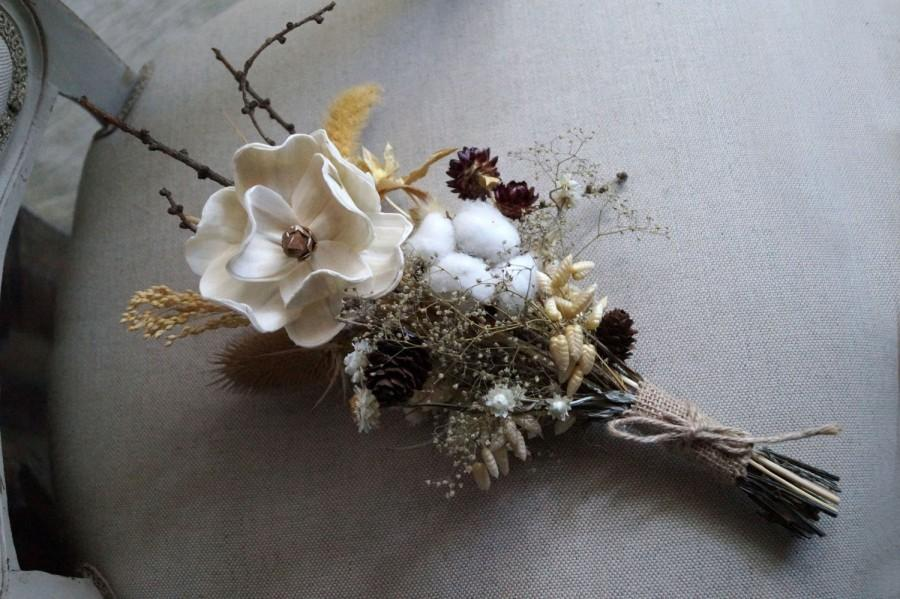 Autumn Wedding Bouquet Sola Flower Bouquet Pine Cones And Cotton ...