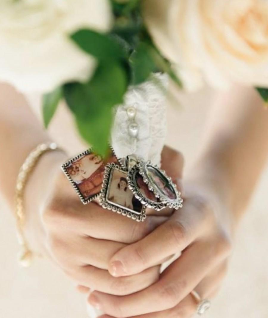 Mariage - DIY Wedding Bouquet Photo Memory charm - Photo Pendants charms  Square - Everything you need Great gift for Bride