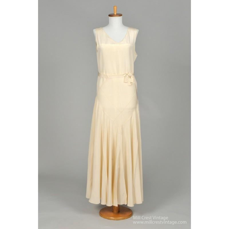 Mill crest vintage 1930 crepe vintage wedding dress for Vintage wedding dress designers