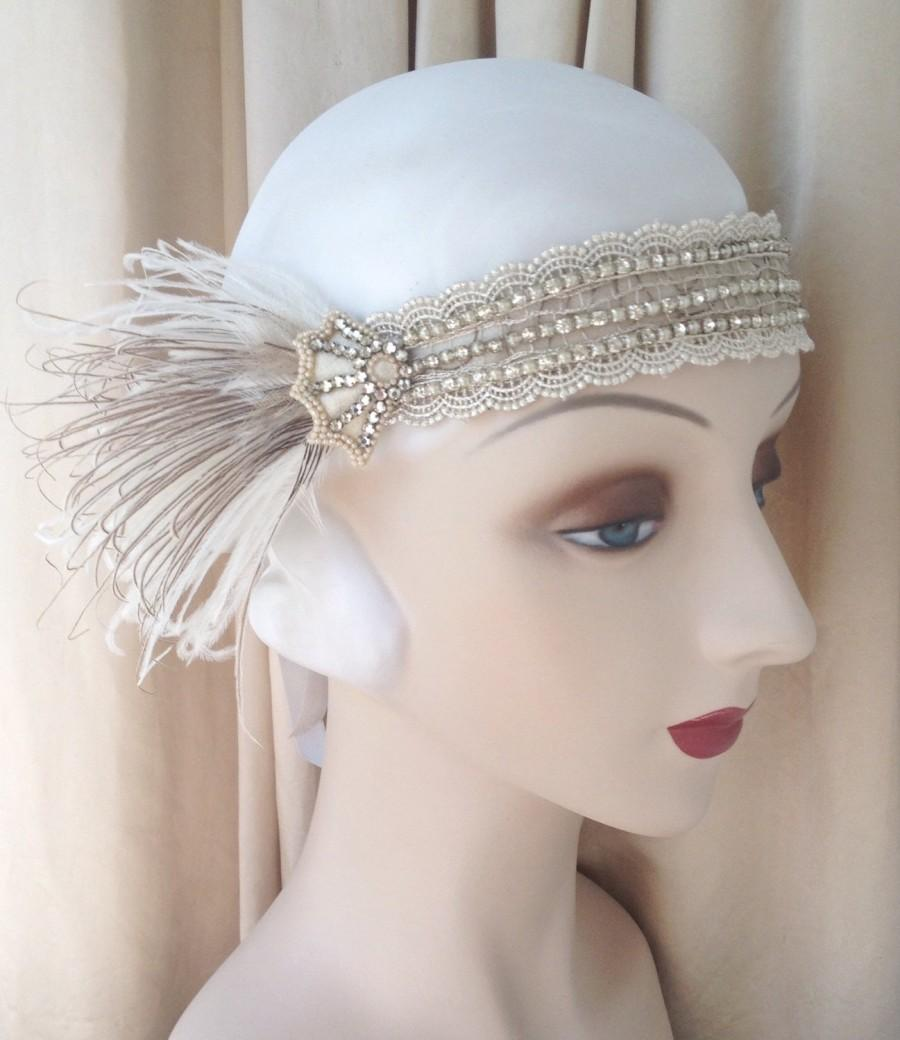 Свадьба - 1920s headdress edwardian headband rhinestone web headpiece art nouveau with ivory and brown feathers-Natalia-made to order