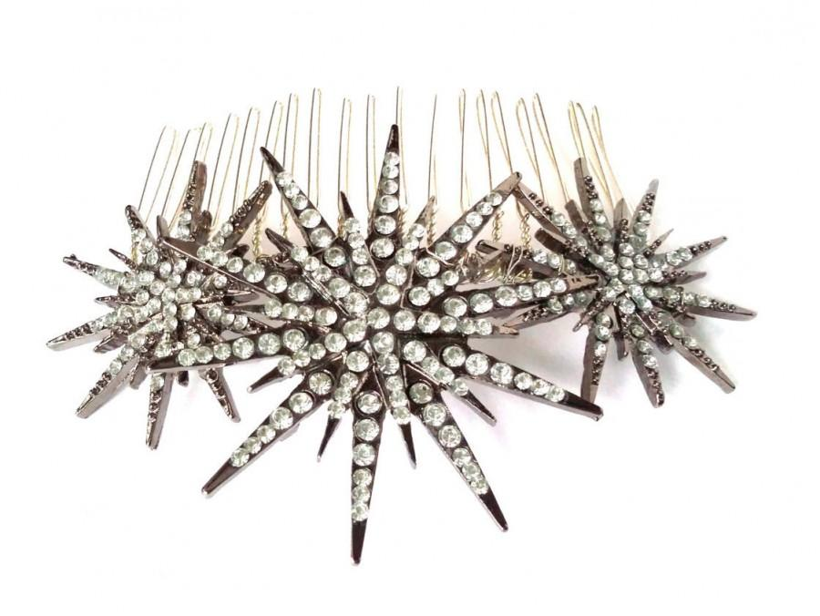 Hochzeit - Deco star burst comb, silver rhinestone star headpiece, Deco bridal headpiece