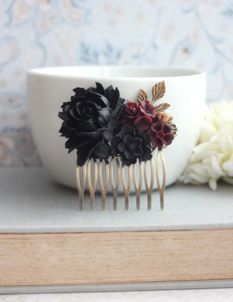 Hochzeit - Black Rose Burgundy Dark Red Flowers Hair Comb Black Wedding Bridal Hair Comb Bridesmaid Gift Gothic Wedding Hair Comb Goth Halloween