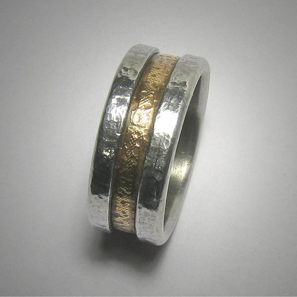Mens Wedding Band 14k Yellow Gold And Silver Rustic Comfort Fit