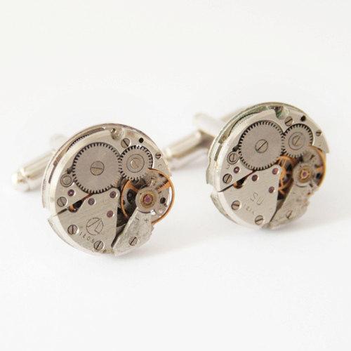 Wedding - Groomsmen cufflinks, Best Man jewellery, Authentic Russian watch movement Clockwork Cufflinks, steampunk wedding, clock watch cufflinks
