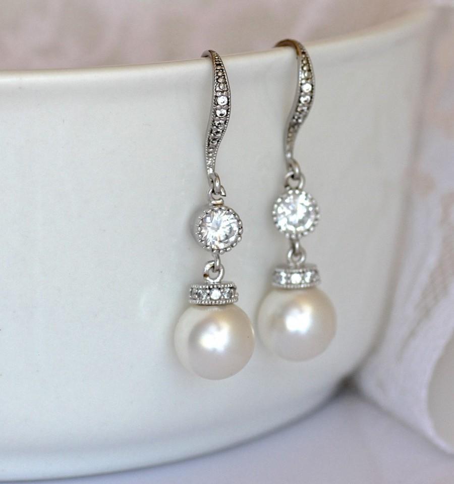 Wedding - Pearl Drop Earrings, Ivory Pearl Bridal Earrings, Swarovski Pearl and Crystal Wedding Earrings, SISSY