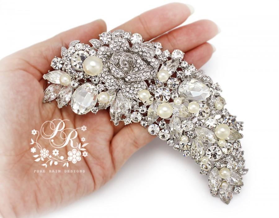 Wedding - Wedding Brooch Swarovski Pearl Rhinestone Crystal leaf style Brooch adornment Sash Applique Buckle Hair comb Clutch Bridal Jewelry Rose