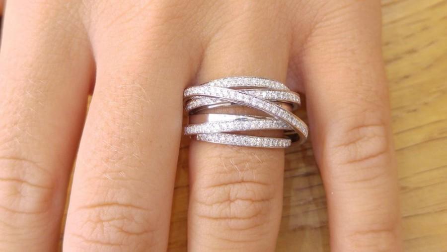 Mariage - Multi Band Ring, 14K White Gold Wedding Band, 1.5 TCW Diamond Wedding Ring, Womens Wedding Band, Unique Rings, Arch Ring