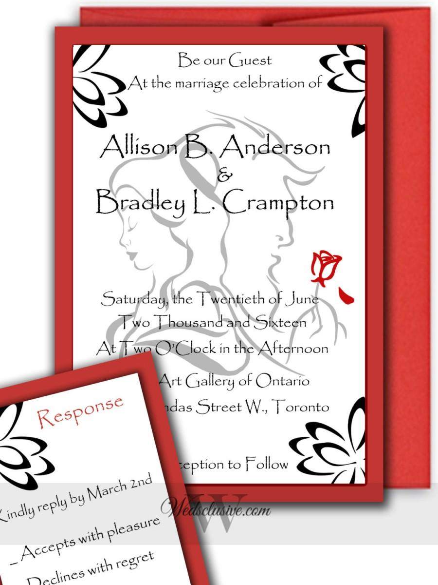 Beauty And The Beast Wedding Invitations, Romantic Disney Weddings ...