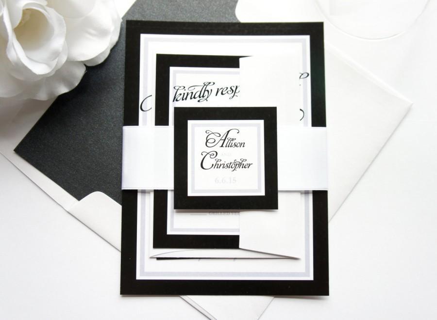 Свадьба - Black and White Wedding Invitations, Black Wedding Invitation, Black Wedding Invitation Suite, Black and White Wedding - SAMPLE SET