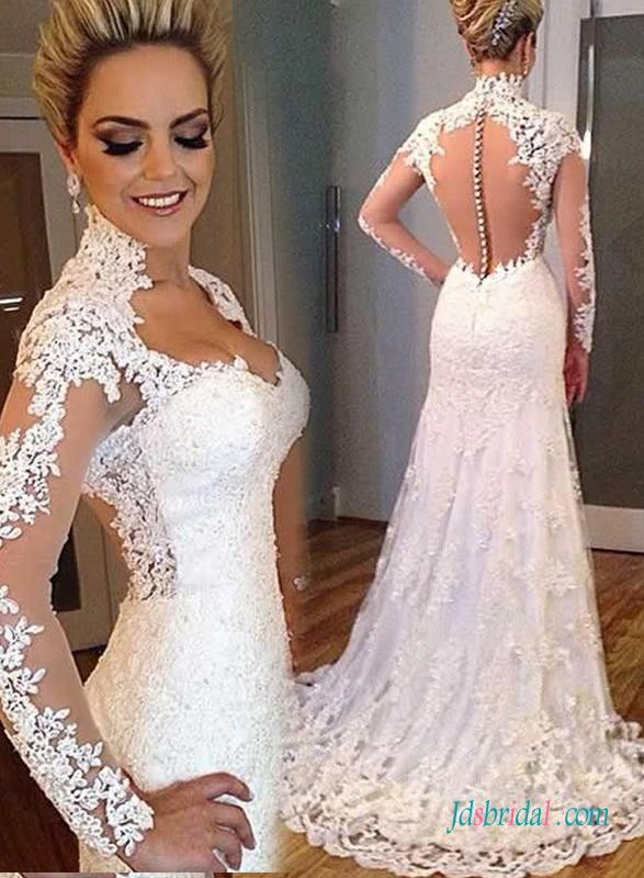 Wedding - Sexy sheer tulle back plunging lace trumpet wedding dress