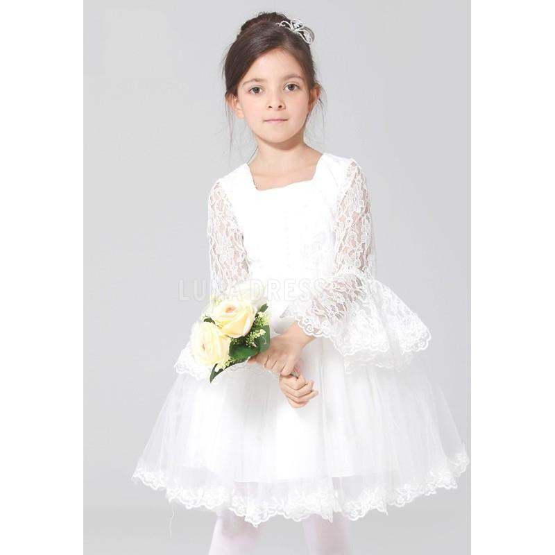 Wedding - Elaborate Tulle & Lace Princess Natural Waist Flower Girl Dress With Buttons - Compelling Wedding Dresses