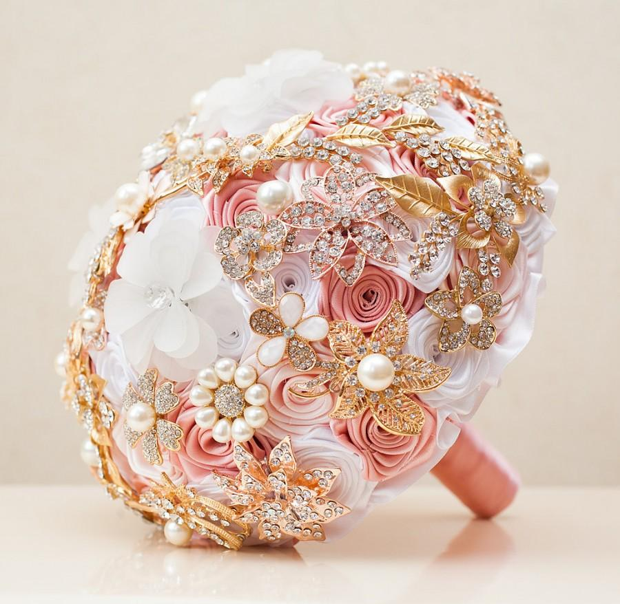 Brooch Bouquet Wedding Bouquet Blush Pink Bouquet White And Gold