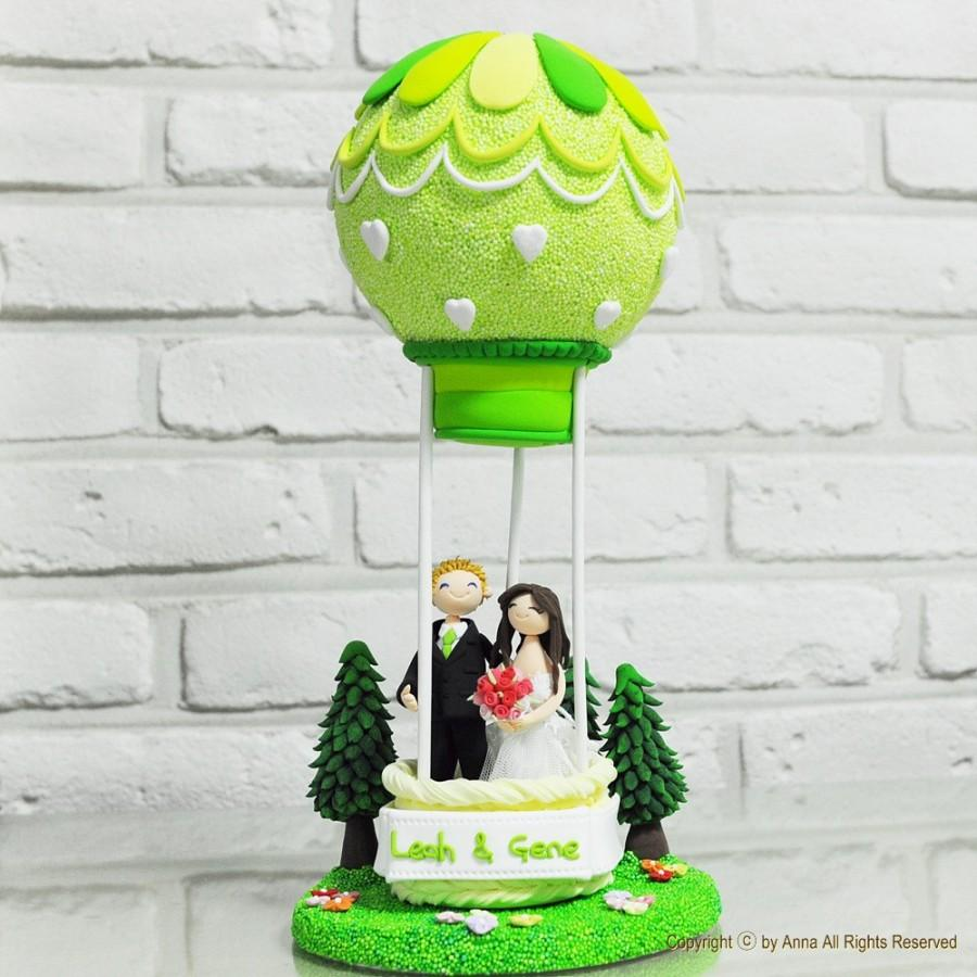 Свадьба - Air balloon custom wedding cake topper Gift Decoration - Let us fly to the Utopia in hot air balloon