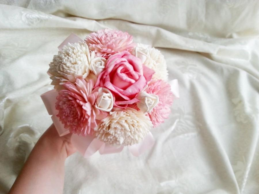 Mariage - RAEDY to SHIP SMALL sola flowers wedding bridesmaid bouquet flower girl wand pink ivory creme satin Handle rose zinnia toss bouquet