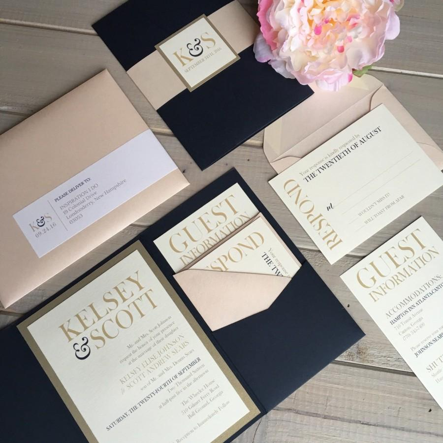 navy, blush and gold wedding invitations, navy and pink wedding, Wedding invitations