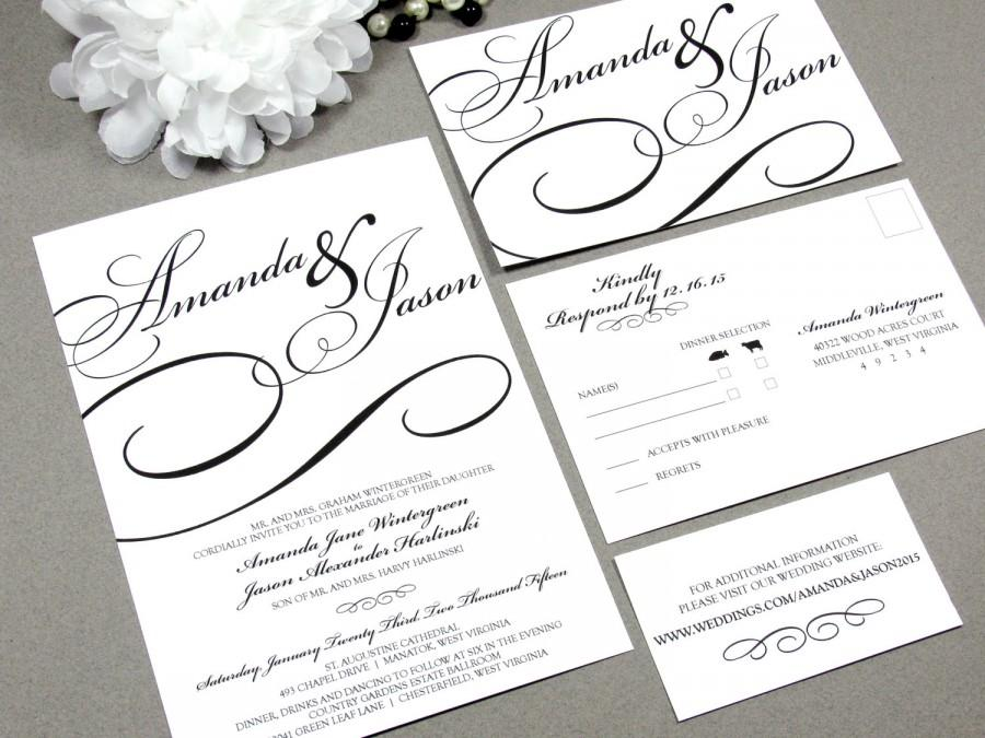 Black Tie Calligraphy Wedding Invitation Set By RunkPock Designs