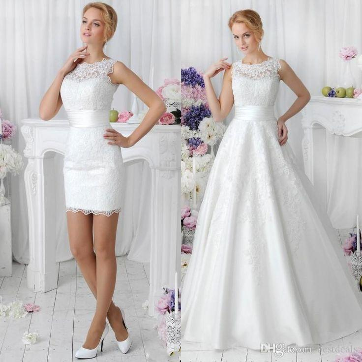 2016 Romantic White Two Pieces A Line Lace Wedding Dresses With ...