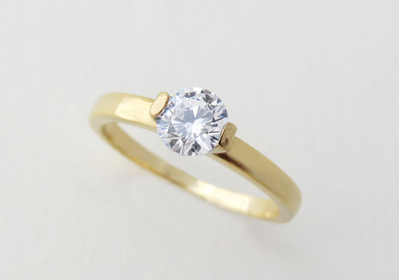 Wedding - FB Moissanite Engagement Ring, Classic Engagement Ring, Forever Brilliant Moissanite Engagement Ring In 14k, 18k gold, Solitaire Ring.