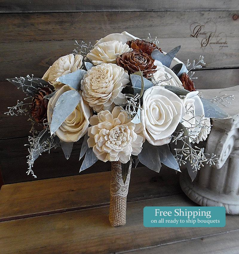 Mariage - Ready to Ship ~~~ Medium Cedar Rose & Sola Flower Bridal Bouquet with Eucalyptus Leaves and Burlap and Lace Wrapped Handle