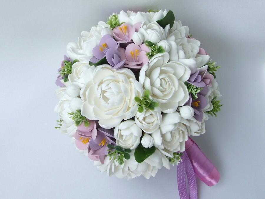 زفاف - Clay wedding bouquet and boutonniere set, Bridal bouquet, White tuberoses and Violet freesias , Natural look bouquet