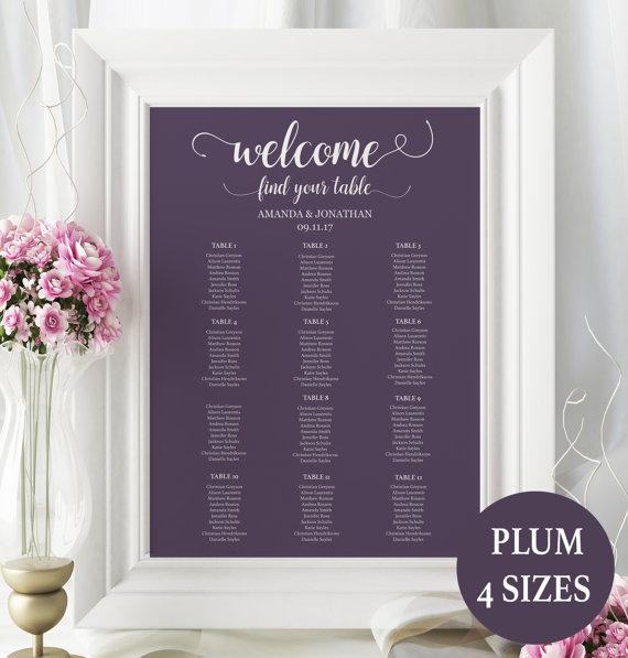 Hochzeit - Wedding Seating Chart Template - Seating Chart Printable - Seating Chart Template - Plum wedding - Downloadable wedding