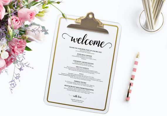 Hochzeit - Wedding Itinerary - Wedding Printable - Wedding Favor - Welcome Letter -Wedding welcome bag note - Downloadable wedding programs