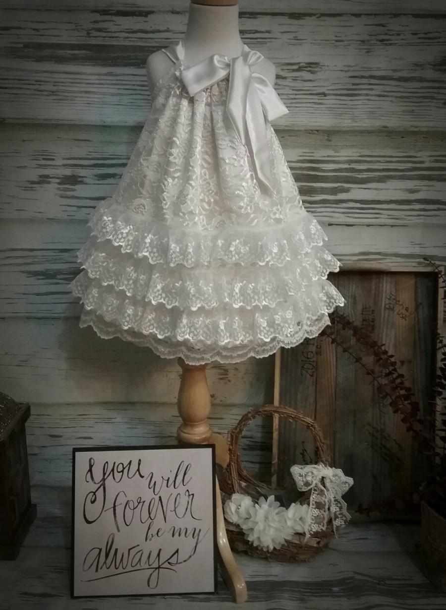 زفاف - Free Shipping to USA Custom Made Multi Tiered Drop Waist Ivory Lace Flower Girl Dress, Rustic-County  Ivory  Lace Flower Girl Dress,