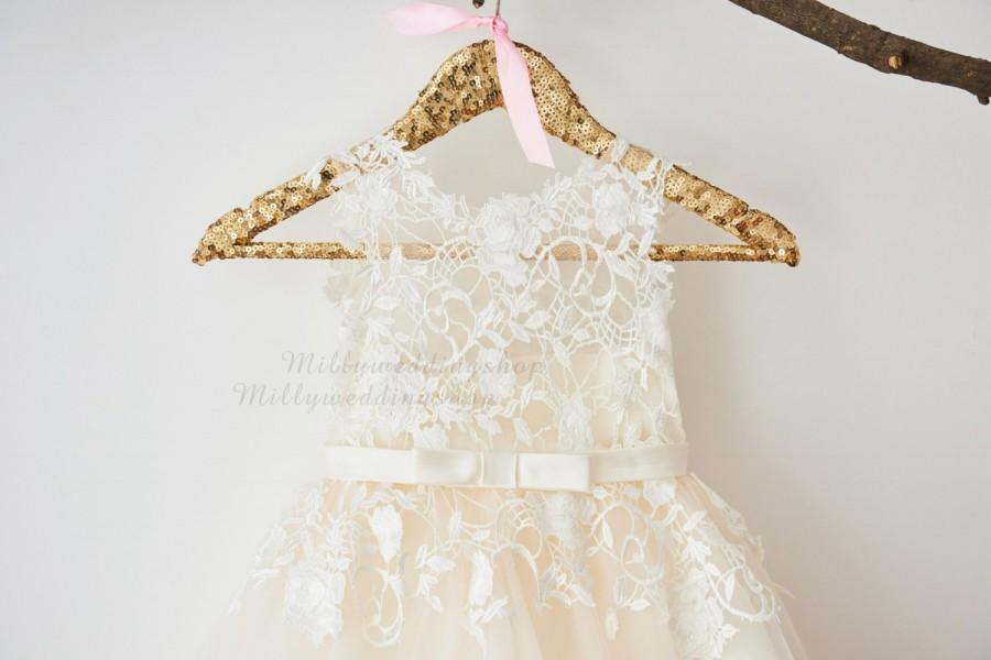 Düğün - Ivory Lace Champagne Tulle Flower Girl Dress Wedding Bridesmaid Dress with Bow Belt  M0049