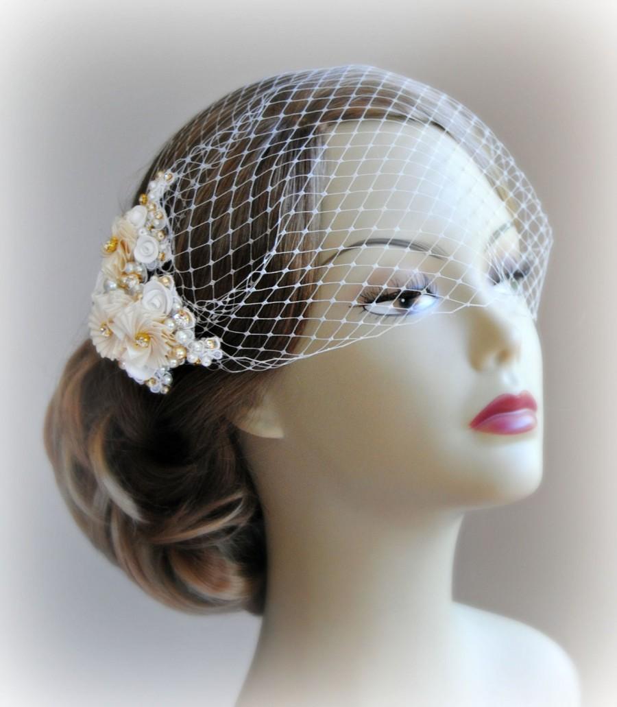 Hochzeit - Ivory & Gold Birdcage Veil and Fascinator, Bridal Fascinator and Bird Cage Bandeau Veil with Rhinestones, Pearls, Vintage Style  - JOSETTE
