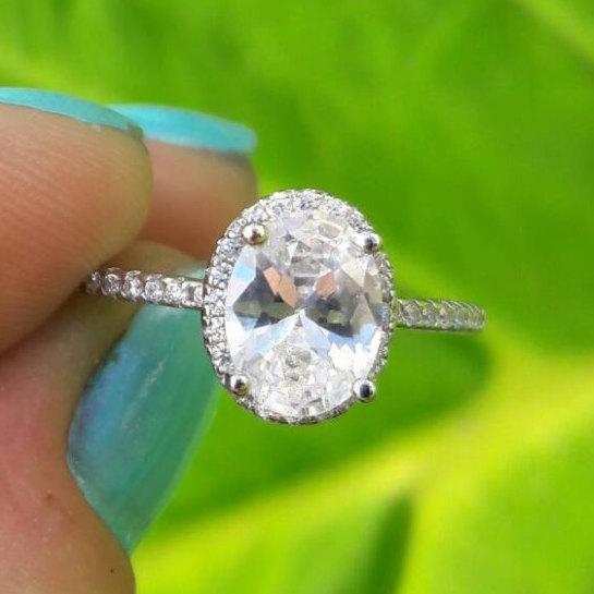 زفاف - Sterling Silver Cubic Zirconia Ring - Simulated Diamond Ring - Engagement Ring Promise Ring - Sparkly Faux Diamond Ring - Ring Bling - Prom