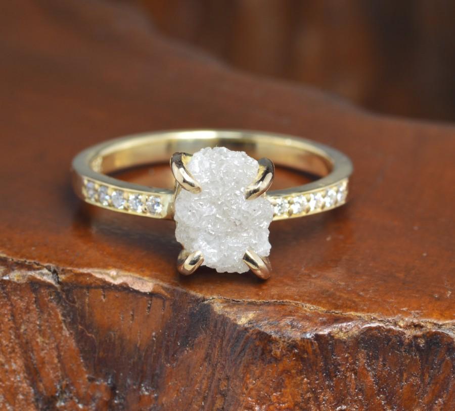 Wedding - 1.90 Carat Raw Diamond Engagement Ring, 14ky Gold